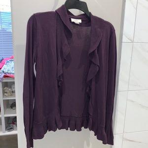 Loft Purple Cardigan with Ruffles